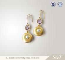 Accessories wholesale cute silver amethyst drop earrings