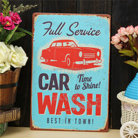 Car Wash Metal Pub Wall Tavern Garage Poster Vintage Sign Tin Plaque Chic Shop Hotel Pub Club Home Classic Deco