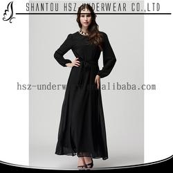 MD2001 Elegant round neckline women casual dress muslimah clothing dubai abaya fashion plain black long dress kurti