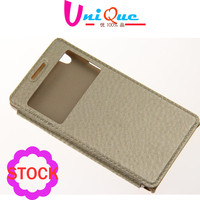 simple design ultra slim flip mobile phone case with phone support for huawei ascend p6