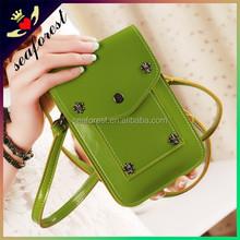 Cheap long strap cellphone bag/fashion girls PU leather phone bag/cell phone sling bag