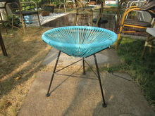 Round rattan table, balcony small wicker table, small round glass coffee table
