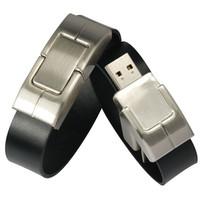 giveaway gift embossed logo bracelet leather usb flash drive