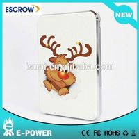 Prommotional big capacity leather Christmas Moose power bank with real capacity
