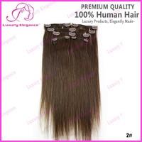 14 18 Inch 6pcs 2# Dark Brown Human Hair Clip In Malaysian Hair Extensions