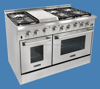 48 inch gas range with griddle electronic oven in stainless steel body and 6 burner