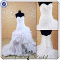 jj3547 cristal vestido de casamento vestido de noiva sereia organza saia de babados