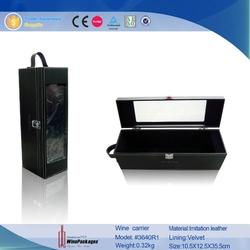 Black leather wholesale cardboard wine carrier