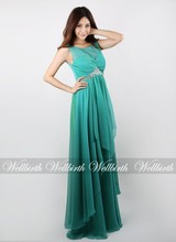 2015 runway top fashion designs elegant flowing emerald green women silk long dress with sashes