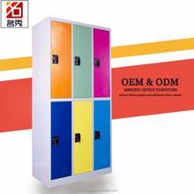 2 tier 6 door metal storage cabinet, colorful metal gym locker with pad lock and cam lock
