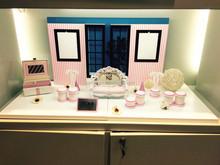 Modern jewelry window display classy pink jewelry display stand