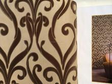 Velvet flocado wallpaper no tejido decoración de flores de diseño