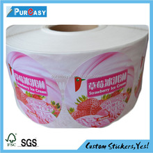 Terrific printing strawberry ice cream paper sticker