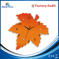 Maple leaf style MDF design glass wall clock with taiwan movement