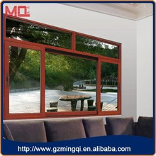 Aluminium profile single pane horizontal sliding storm windows wooden color
