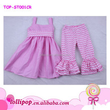 Hot sale chevron cute baby clothes with ruffles sets 2pc lovely infants' clothing baby outfits