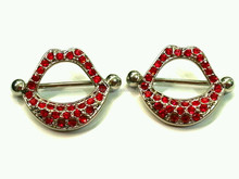 Sexy Red Lips Nipple Shields Rings Jewelry Piercing Bars