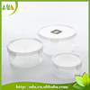 2015 New products 3pcs clear round plastic food container with lid