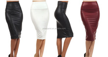 straight High Waist Stretch Faux Leather Basic Pencil Skirt solid Color Mini skirt S M L XL