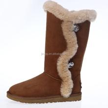 2015 New style Australian sheepskin wool-one women fashion button snow boots High quilty warm snow boot