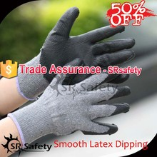 SRSAFETY 50%OFF 10G Smooth latex coated gloves/work safety gloves in safety gloves,economy style