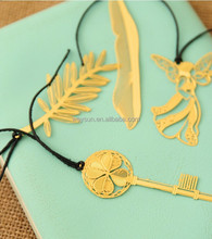 high grade 7.3*2.7CM Korea Imported bookzzicard hollow Feather key angel leaves golden metal Marks