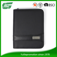 Simple nylon PVC A5 size zippered folder with notepad