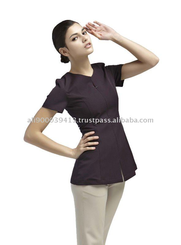 Mujeres de uniforme spa yaetw0021 ropa de trabajo for Spa uniform indonesia