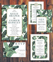 Modern Palm Wedding Invitation Suite, Palm Beach, Hawaii Theme