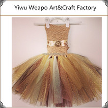 2015 High quality Champagne and chocolate new model baby girl tutu dress TWP-158