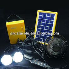 Solar LED lighting kits 6W solar panel 2pcs LED lamp with battery for power lighting camping and indoor lighting back up