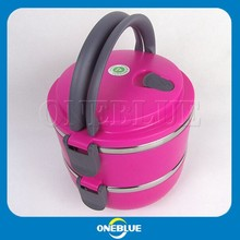 Two layer stainless steel hot lunch box with handle