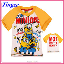 2015 Hot sales high quality despicable me minions printing short sleeve child brand t-shirt TR-M03