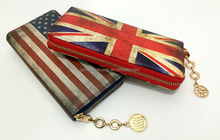Lady PU long wallet with national flag printing wallet design and metal zipper around fashion purse with long logo zipper puller