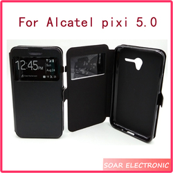 Smart window electronic leather for Alcatel pixi 3 5.0 case cover