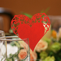 Red heart place card name place card