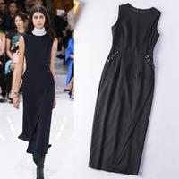 New 2015 Autumn Luxury Designer Fashion Women O-Neck Solid Black Color Button Pocket Slim Fitted Ankle Length Long Dress Elegant