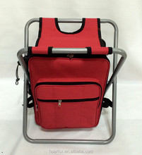 Foldable hot red picnic stool with backpack and shoulder straps