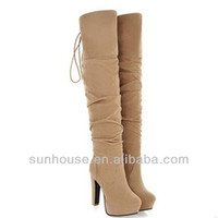 personality new ladies fur lined thigh high latex boots