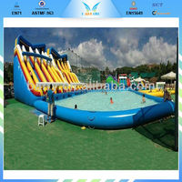 2015 summer exciting water sports children inflatable pool with slide