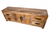vintage reclaimed old elm wood media console tv stands entertainment unit
