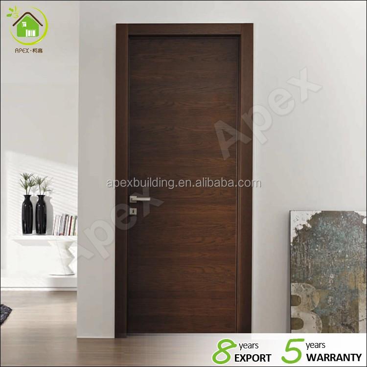 Walnut Color Solid Wood Interior Wood Door Contemporary Interior