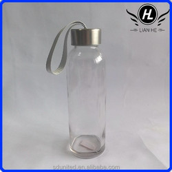 350ml clear water glass bottle with stainless steel cap