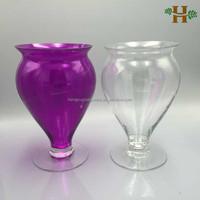 Hand blown glass stemmed flower vases