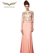 Coniefox 30386 robe de soiree Sequins Pink vestidos de noche Elegant Half Sleeve Women Luxury Cheap Long Evening Dresses 2015