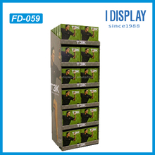 high quality paper material cardboard floor display shelf for mens clothes retail