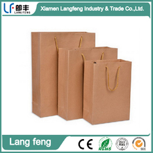 manufacturer wholesale custom printing brown kraft paper bag with rope handle