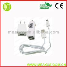 Free Shipping White 3 in 1 US Wall Charger + Micro USB Cable + Dual Car Charger for Samsung HTC Nokia LG with Retail Packaging