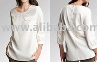 Designer bamboo tunic top with 3/4 sleeves