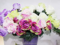 2014 SJ AF086 Factory artificial flower pink rose bouquet for artificial flowers wedding party decoration white silk rose flower